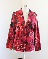 NWT New Chico's Red Rose Floral Print Hollie Blazer Jacket Chicos Size 1