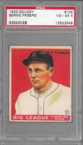 1933 Goudey #105 BERNIE FRIBERG Red Sox PSA 4 VG-EX