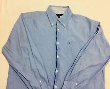 TOMMY HILFIGER Mens Button Up Shirt Large Solid Blue LS Box Logo On Pocket #16