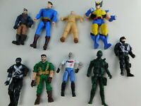 Lot of 9 Action Figures Mixed Brands Unknown Grab Bag