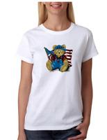 Gildan T-shirt Teddy Bear Americana patriotic USA Flag American