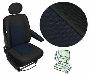 Single Van seat cover for driver's seat fit Citroen Relay Fiat Ducato black/blue