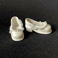 Pedigree Sindy doll white court shoes up-cycled with seed bead embellishment