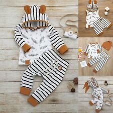 Newborn Baby Boy Girl Feather T shirt Top Striped Pant Clothes Outfit Set 0-24M