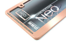 Rose Gold Clear Diamond Bling License Plate Tag Frame for Auto-Car-Truck