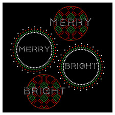 Merry and Bright Christmas Ornament Holiday Rhinestone Hotfix Iron On Transfer