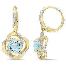 Amour Gold Plated Silver Blue Topaz and White Topaz Earrings