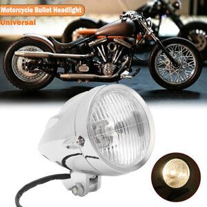 """4.5"""" H4 Chrome Visor Bullet Headlight Lamp For Harley Bobber Chopper Custom 12V"""