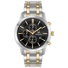 Bulova Men's Quartz Chronograph Black Dial Two-Tone Bracelet 43mm Watch 98B310