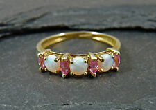 9ct Yellow Gold Opal & Pink Tormaline Ring - UK Size S