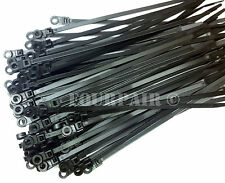 "500 Pcs Lot - 8"" UV Mount Head Screw Nail Hole Cable Zip Wire Tie 50 lbs - Black"