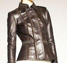 """$3,995 Burberry Prorsum Fringe Trim 12 (38"""") Leather Jacket Women Motorcycle NEW"""