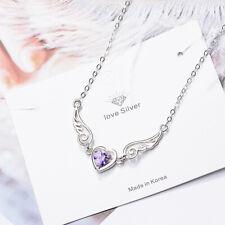 925 Sterling Silver Angel Wing Heart Shape Pendant Necklace For Romantic Women