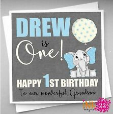 Personalised Babys Boys 1st First Birthday Card Son Grandson Nephew Elephant
