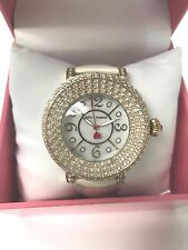 NWT Rare Betsey Johnson White Leather Bling Gold watch pave jewels