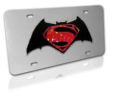 Batman V. Superman Colored Reflective Decal on Brushed Metal License Plate