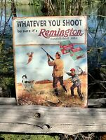 Remington Whatever You Shoot Vintage Metal Tin Sign Wall Decor Garage Man Cave