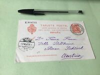 Spain to Austria 1907  stamps post card Ref 21381