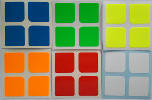 Magic Cube Stickers 2x2 50mm Shengshou Half Bright Fluo Colours
