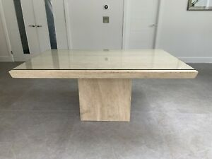 solid travertine marble dining table 170x100 with tempered Glass Cover 6 Chairs