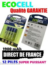 12 Piles AAA 1900mAh ECO Rechargeable 1.2 Mignon Ni-Mh  TRES PUISSANT - DE FRANC