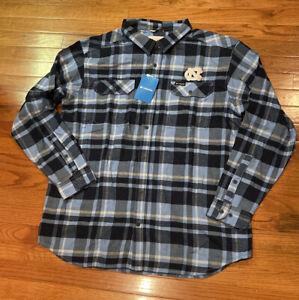 Mens North Carolina UNC Tar Heels Columbia Flare Gun Flannel Button-Up Shirt 2XL