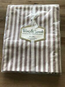 Vintage Sealed Wamsutta Supercale Pillowcases White & Brown STriped 45 X 38-1/2