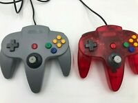 Lot of 2 Aftermarket N64 Controllers, Transparent red & Gray, Nintendo 64