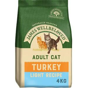 4kg James Wellbeloved Natural Adult Complete Dry Cat Food Biscuits Turkey Light