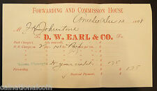 D.W. Earl & Co. Forwarding and Commission House Invoice 1898