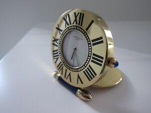 CARTIER Wecker Clock Reise Uhr rund Gold/Lack blau wie neu