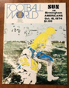 RARE 1974 WFL Program Southern California Sun vs Birmingham Americans