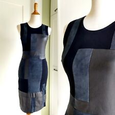 $1195 A.L.C. alc Leather Suede Knit Patchwork Navy Blue Black Dress 4 XS S Lamb