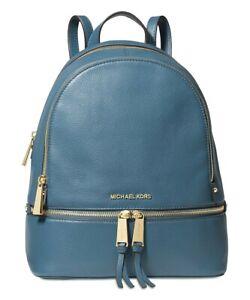 NWT MICHAEL KORS RHEA ZIP MEDIUM Backpack In DARK CHAMBRAY Pebbled Leather $298