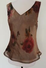 ELLEN TRACY Sheer Rose Print Sleeveless Top Size 10