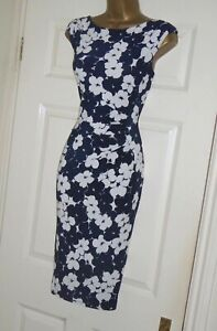 Phase Eight navy white floral print stretch pencil wiggle evening party dress 12