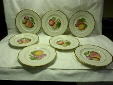 "Set of 7 Fondeville New York 8 1/2"" Plates with Fruit Designs & Gold Trim"