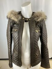Bally Nappa Brown Lamb Leather Quiltted Jacket Gilet with Removable Fox Fur Hood