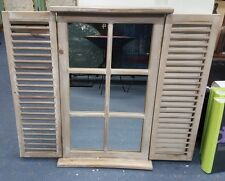 Window Mirror Shutter Rustic French Provincial Home Decor Natural Timber