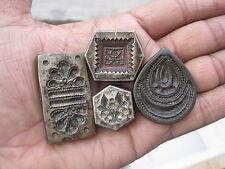 Old or antique bell metal jewellery stamp die seal deep engraved flower 4pcs