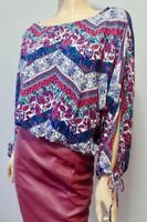 Self Esteem Batwing Pink Blue Calico Boho Cropped Tie Peep Sleeve Top Blouse XL