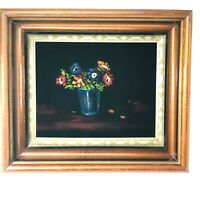 Vintage Deep Shadowbox Wood  Picture Frame Velvet Floral art Painting 14x12x3.5""