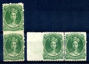 Weeda Nova Scotia 11, 11a VF MNH pairs on yellowish/white papers CV $160