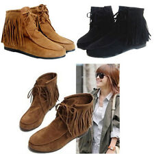 Hot Women's Fringe Tassel Ankle Boots Flats Matte Suede Lace Up Moccasins Shoes