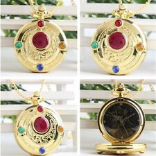 Sailor Moon Golden Moon Prism Pendant Pocket Watch Necklace Anime Cosplay