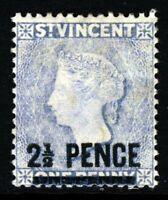 ST. VINCENT QV 1889 2½ Pence Surcharge on 1d. Milky-Blue Crown CA P14 SG 49 MINT