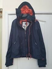 SUPERDRY NAVY BLUE NEON FLURO PEACH SMART 3 ZIP ORIGINAL WINDCHEATER JACKET MED