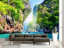 Beach Sea Island Rock Tree Sky Wallpaper Wall Mural Ocean Photo Summer Poster