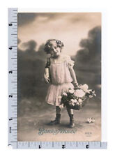 RPPC Little Girl w Flowers and Wine New Year Hand Colored Postcard | REX 4334