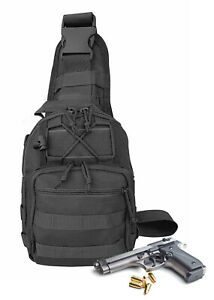 Black Nylon Tactical Crossbody Multiple Compartments Conceal Carry Gun Sling Bag